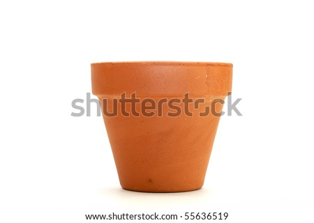 clay flower pot over white background