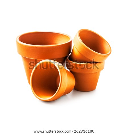 Clay flower pots isolated on white background. Objects group with clipping path - stock photo