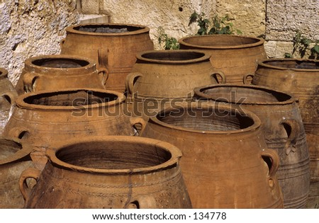 Clay jars at the Acropolis, Athens, Greece