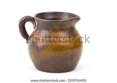 Clay jug, old ceramic vase  - stock photo