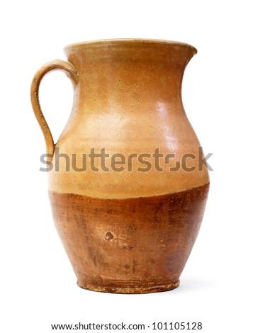 Clay jug, old ceramic vase isolated - stock photo