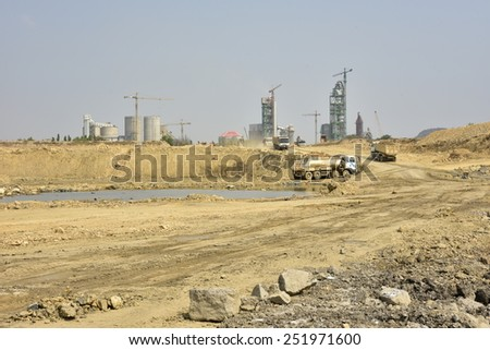 Clay mining, Cambodia. - stock photo