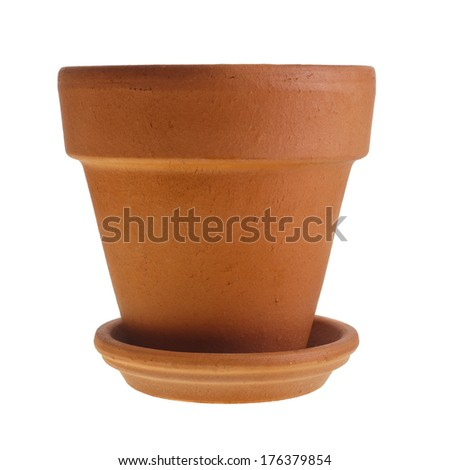 Clay Orange Terracotta flower pot with saucer isolated on white background - stock photo