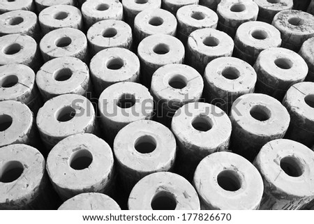 Clay parts on the production line, in the ZhongTong Ceramics Co., Ltd., Luannan county, Hebei Province, China.   - stock photo