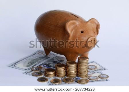 Clay piggy bank on money - stock photo