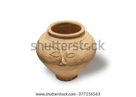 Clay pot for supplies and the ashes of the dead. Germany. Depicted parts of the face on the pot side was supposed to protect from potential thieves