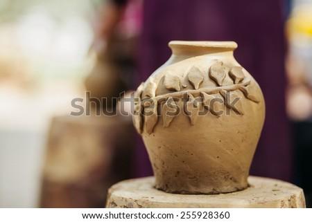 clay pot  handmade traditional Asia Vietnam - stock photo