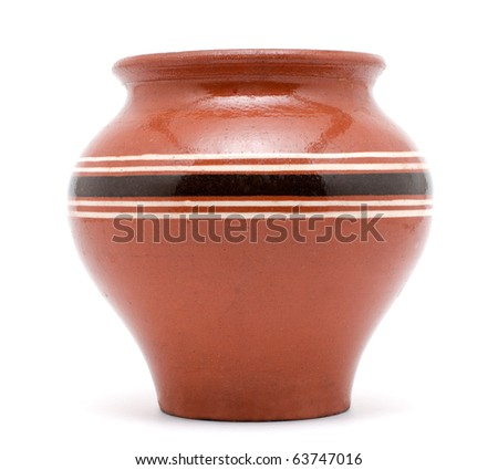 clay pot isolated - stock photo
