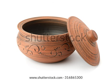 clay pot isolated on white - stock photo