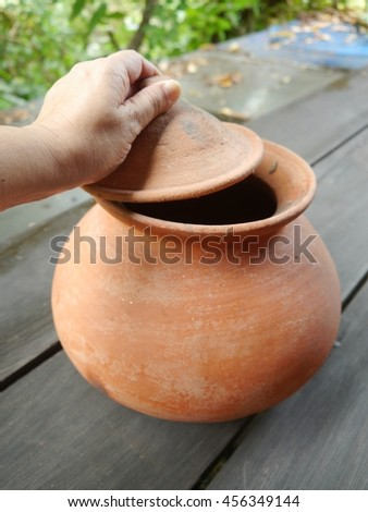 Clay pots, containers for food of Thailand.