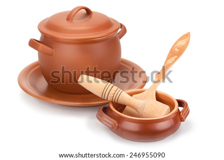 clay pots, wooden utensils and a plate of isolated on white background - stock photo
