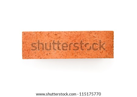 Clay red brick on white background