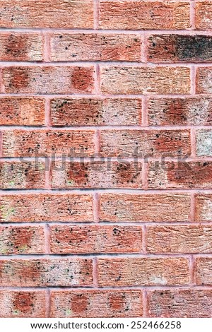 Clay red brick wall texture and background - stock photo
