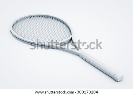 Clay Render Closeup Tennis Racket on the white background - stock photo
