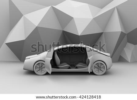 Clay rendering of self-driving car model. 3D rendering image. - stock photo