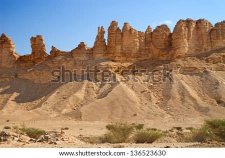 Clay rocks surrounding Riyadh city in Saudi Arabia - stock photo