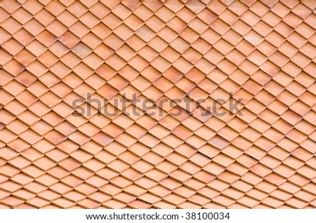 Clay tiles on Thai style roof