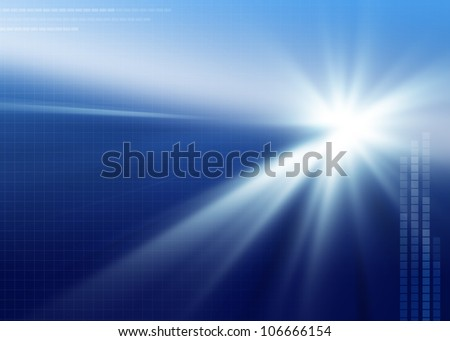 Clean, abstract, modern, blue background with shining light and light grid with copy space ideal for electronic or technology based designs. - stock photo