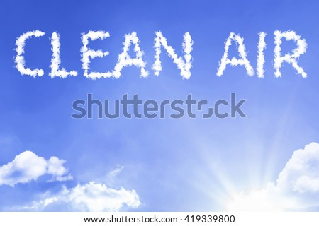 Clean Air cloud word with a blue sky - stock photo