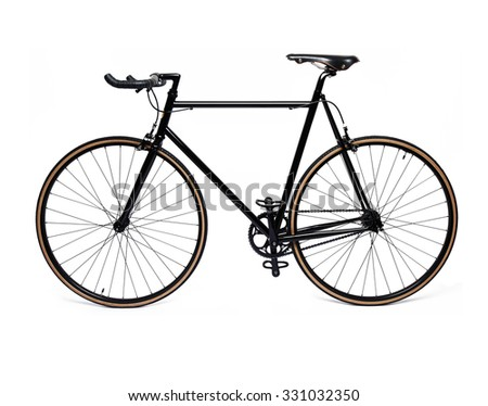 clean and beautiful classic black fixed gear bicycle isolated on white - stock photo