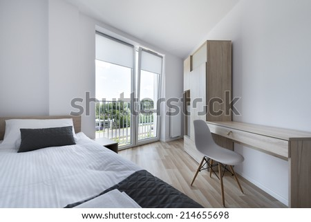 Clean and Modern Bedroom in scandinavian, bright style - stock photo