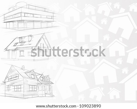 clean architectural background white illustration - stock photo