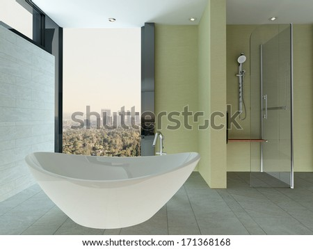 Clean bathroom interior with tiled wall and floor and bathtub
