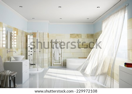 Clean bathroom with terracotta tiles and moving curtains (3D Rendering) - stock photo