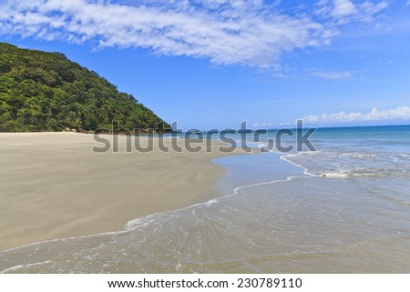 Clean beach at As ilhas in Barra do Sahy, Sao Sebastiao, Sao Paulo - Brazil - stock photo
