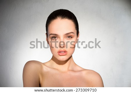 Clean, beautiful face girl - stock photo