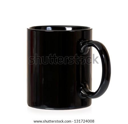 Clean black mug, isolated on white background - stock photo