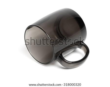 Clean black mug isolated on white background - stock photo