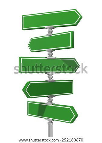 Clean blank of road sign on white background. - stock photo