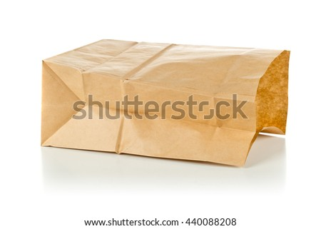 Clean brown paper bag  from recycled paper on white background