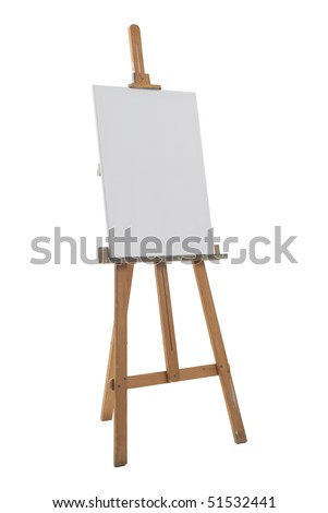 Clean canvas on a easel isolated on a white background. - stock photo