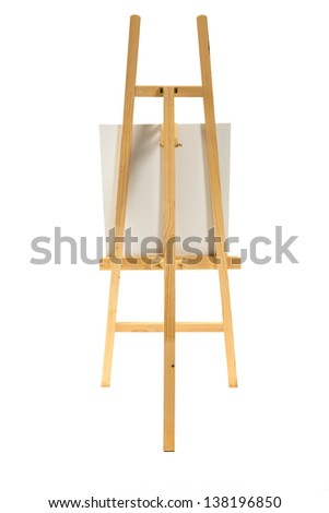 Clean canvas on a wooden easel isolated on a white background. - stock photo