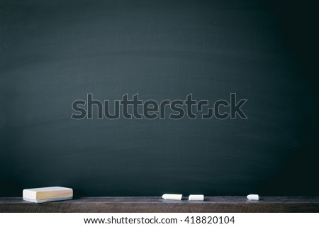 Clean chalk board for background . texture for educational or business background.