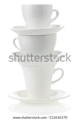 stock photo clean cups and saucer isolated on white background 112636370 Plastic Coffee Cups Watercolor Coffee In Plastic Cup Stock Vector Image