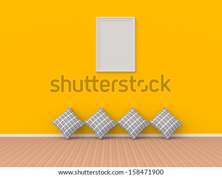 clean 3d interior room pillow on floor with frame on yellow wall - stock photo