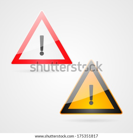 Clean danger warning signs set
