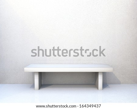 Clean empty room with wooden floors and textured wall and bench in white
