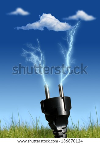 Clean energy concept. Over blue sky background. - stock photo