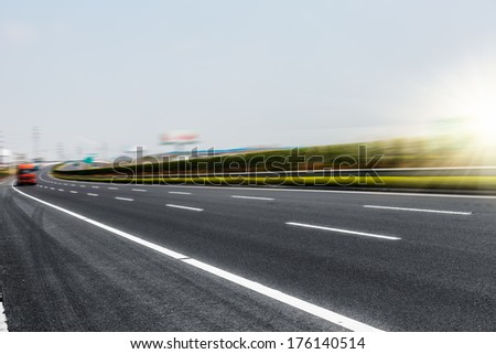 clean freeway with sky background. - stock photo