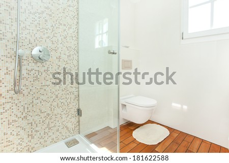 clean, fresh bathroom full of light - stock photo