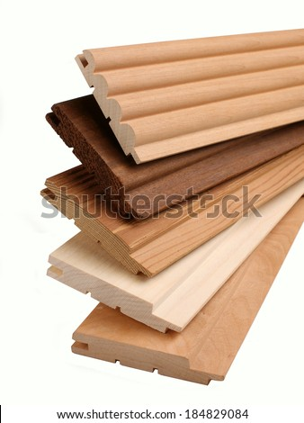 Clean freshly cut wooden plank - stock photo
