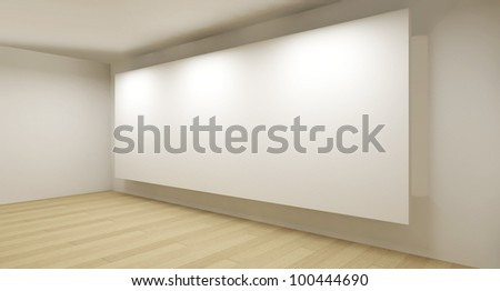 Clean gallery with white backdrop, 3d art - stock photo