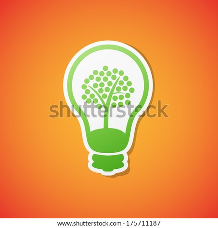 Clean green ecology bulb icon sticker
