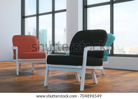 Clean Living Room Interior Several Chairs Stock Illustration