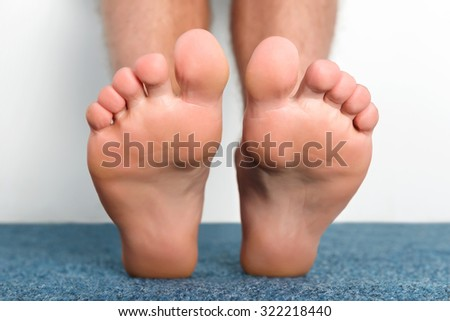 Clean male toes without any dermatological issues. - stock photo