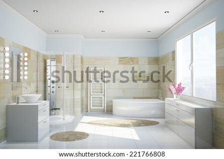 Clean modern bathroom with terracotta tiles and a bathtub - stock photo